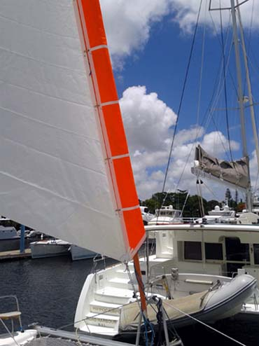 ATN Gale Sail hoisted with the spinnaker halyard