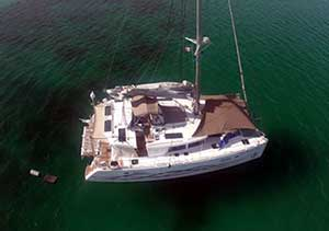 Lagoon 450 Multi Awning Anchored in the Sea of Cortez
